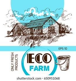 Beautiful hand drawn  illustration eco farm. Sketch style.