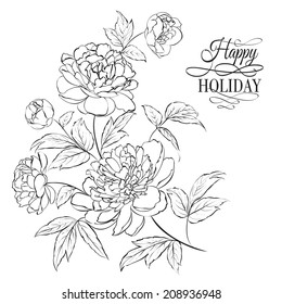Beautiful hand drawn illustration of peony on a white background.