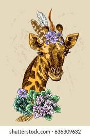 Beautiful hand drawn illustration portrait of giraffe. Boho style.