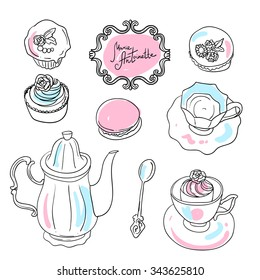 Beautiful hand drawn illustration tea and sweets for girls