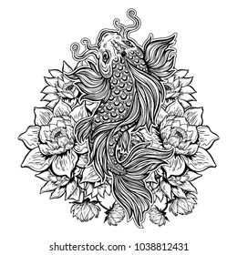 Beautiful hand drawn Koi carp fish in lotus water lily flowers. Ornate Asian animal. Symbol of spirituality, religion, zen. Isolated vector illustration. Tattoo, bag print, t-shirt print, sticker.