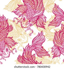 Beautiful hand drawn Koi carp fish seamless pattern. Ornate Asian animal endless stylish texture. Ornament for of spirituality, religion, zen. Isolated vector repetition background.