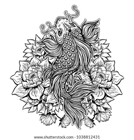 acc8ea9a7a5ee Beautiful hand drawn Koi carp fish in lotus water lily flowers. Ornate  Asian animal. Symbol of spirituality, religion, zen. Isolated vector  illustration.