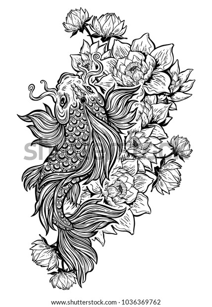 9029ad4ded5a1 Beautiful hand drawn Koi carp fish in lotus water lily flowers. Ornate  Asian animal.
