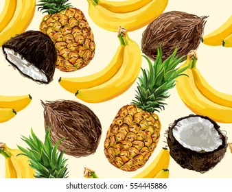 Beautiful hand drawn pattern with  bananas, coconuts, pineapples. Seamless vector floral pattern, summer background.