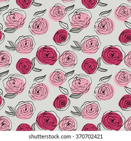 Beautiful hand drawn pattern with roses. Vector seamless floral texture. Floral pattern with roses and leaves.