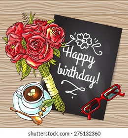 beautiful hand drawn postcard happy birthay with roses