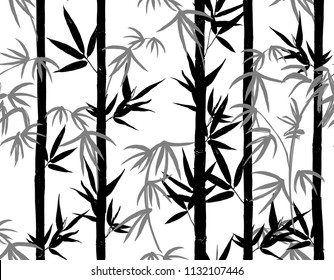 Beautiful hand drawn seamless bamboo pattern. Perfect for wallpapers, web page backgrounds, surface textures, textile. Vector vintage traditional fashion illustration ornament on white background.