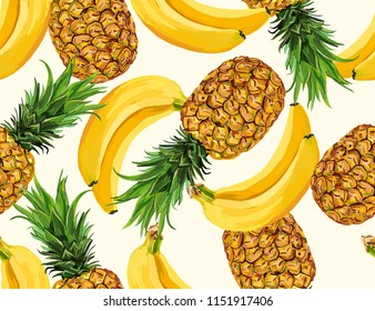 Beautiful hand drawn seamless  pattern with bananas, pineapples. Seamless vector floral pattern, summer background for fashion and all fabric on light beige background color