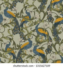 Beautiful hand drawn seamless pattern with peacocks. Tropical bird with flowers.