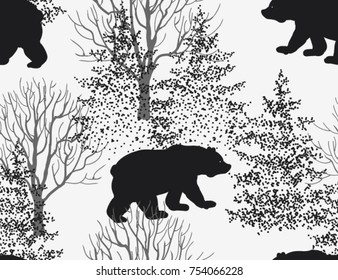 Beautiful hand drawn seamless pattern,  background with bear, winter forest landscape.