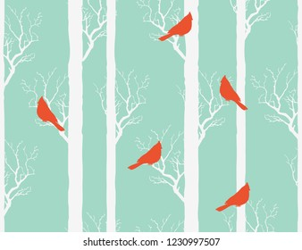 Beautiful hand drawn seamless winter christmas pattern background with northen red cardinals and branches trees. Isolated on blue background