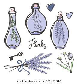 Beautiful hand drawn set of herbal essences