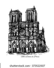 Beautiful hand drawn sketch vector illustration Notre Dame de Paris