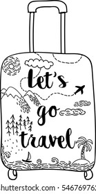 Beautiful hand drawn suitcase with mountains, forest, airplane, sea and caliigraphy quote Let's go travel. Wanderlust. Vector Sketch style illustration.
