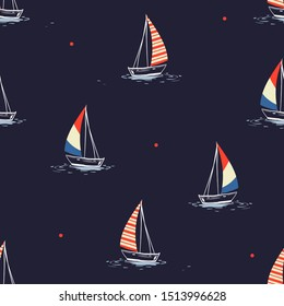 Beautiful hand drawn summer beach wind surfing illustration in the ocean mixed with red polka dots  seamless pattern on vector . Isolated on the navy background.