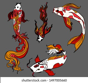 Beautiful hand drawn swimming koi carp fish.Religion,zen,line style ornate Asian animals.Perfect for wallpaper.Japanese culture symbol traditional with koi carp isolate on white background.