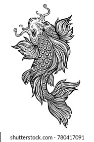 Beautiful hand drawn swimming Koi carp fish. Line style ornate Asian animal. Symbol of spirituality, religion, zen. Isolated vector illustration. Can be tattoo, bag print, t-shirt print, sticker.