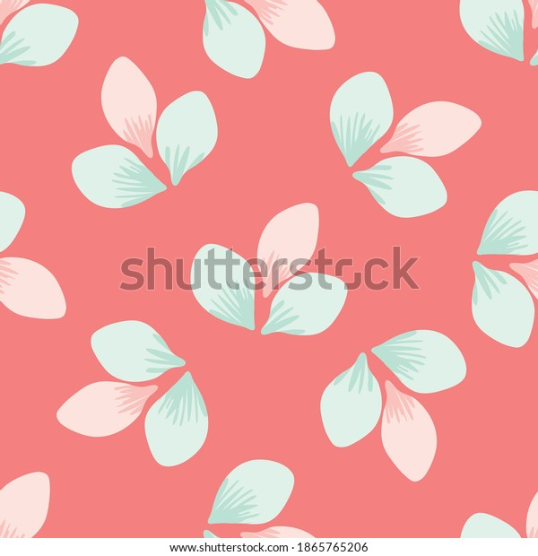 Beautiful hand drawn trio of spring blossoms seamless vector pattern background. Pink and mint green delicate petals on coral color backdrop. Floral botanical illustration. Decorative all over print