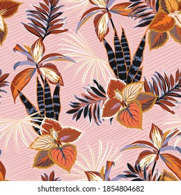 Beautiful hand drawn tropical plants vector seamless pattern with botanical forest plants, flowers on hand drawn diagonal line on sweet pink background color