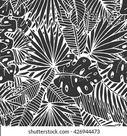 Beautiful hand drawn tropical seamless pattern. Monochrome line repeated background with palm leaves.