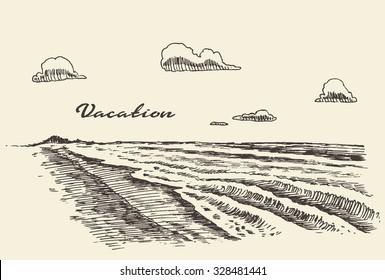 Beautiful hand drawn vacation poster with seaside view and beach, vector illustration, sketch