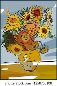 Beautiful hand drawn Van Gogs sunflowers. Ideal for greeting cards