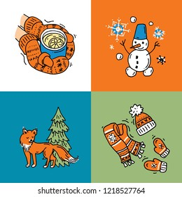 Beautiful hand drawn vector illustration winter  aktivites. Doodle style drawing.