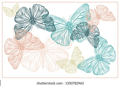 Beautiful hand drawn vector illustration sketching of butterflies. Boho style drawing. Use for postcards, print for t-shirts, posters, wedding invitation, tissue, linens - Vector