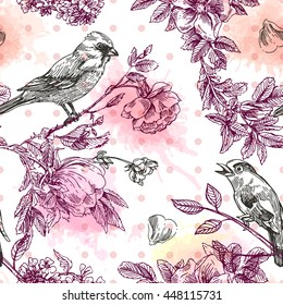 Beautiful hand drawn vector  illustration bird and flowers. Boho style seamless pattern. Use for t-shirts, print, poster, postcard, wedding invitations.