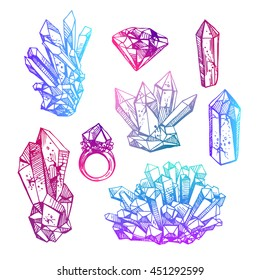 Beautiful hand drawn vector illustration sketching of crystals. Boho style drawing. Use for postcards, print for t-shirts, posters, wedding invitation, tissue, linens