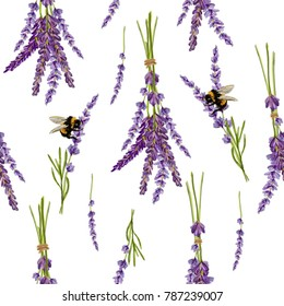 Beautiful hand drawn vector lavender flower seamless pattern with bumblebee insects. Isolated objects on white background. Perfect for wallpapers, web page backgrounds, surface textures, textile.