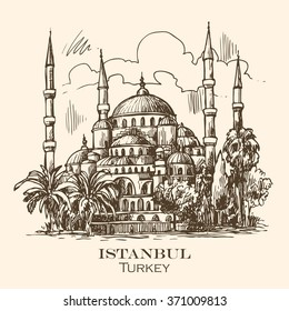 Beautiful hand drawn vector sketch illustration Istanbul blue mosque