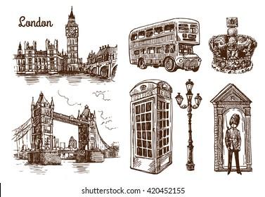 Beautiful hand drawn vector sketch illustration London. Sketch style. London sketch.