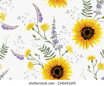 Beautiful hand drawn vintage floral pattern background with summer wild flowers, sunflower. Seamless vector texture. Summer bright floral pattern. Perfect for all kind of prints. Hand drawing style.
