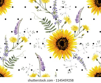 Beautiful hand drawn vintage floral pattern background with summer wild flowers, sunflower, polka dot. Seamless vector texture. Summer bright floral pattern. Perfect for all kind of prints.
