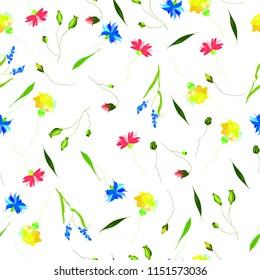 Beautiful hand drawn wild flowers seamless pattern vector