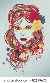 Beautiful hand drawn woman fashion illustration with flowers