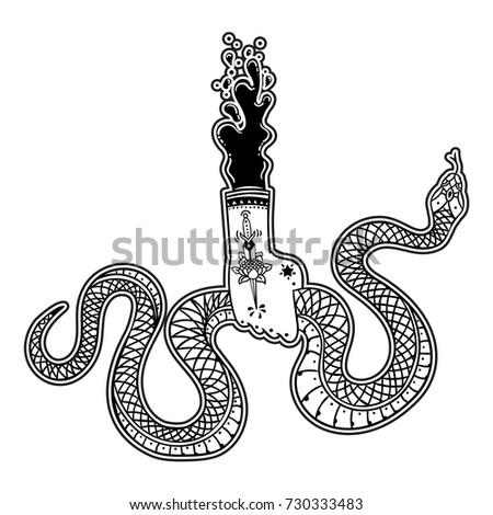 Beautiful Hand Holding Snake Vector Illustration Stock Vector