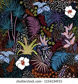 Beautiful hand sketch seamless tropical dark summer forest pattern with colorful palm trees,leaves,exotic wild and plants vector in hand drawn style,for fashion ,fabric and all print on black