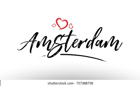 Beautiful hand written text typography design of europe european city amsterdam name logo with red heart suitable for tourism or visit promotion