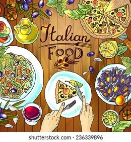 イタリアン シーフードのイラスト素材画像ベクター画像 Shutterstock