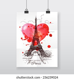 Beautiful hand-draw poster Paris and watercolor heart