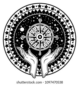 Beautiful hand-drawing hand is holding compass on cosmos background. Vector illustration  isolated. Tattoo design, mystic magic symbol for your use.