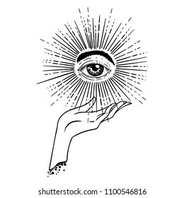 Beautiful hand-drawing hand is holding eye of providence. Vector illustration  isolated. Tattoo design, mystic magic symbol for your use.