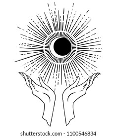 Beautiful hand-drawing hand is holding the Moon. Vector illustration  isolated. Tattoo design, mystic magic symbol for your use.