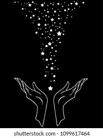 Beautiful hand-drawing hand is holding stars. Vector illustration  isolated. Tattoo design, mystic magic symbol for your use.