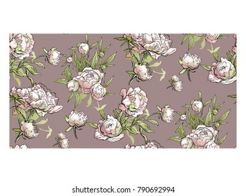 Beautiful hand-drawn bouquet of pink peonies. Vector illustration. Peony seamless pattern. Floral background. Endless pattern of flowers.