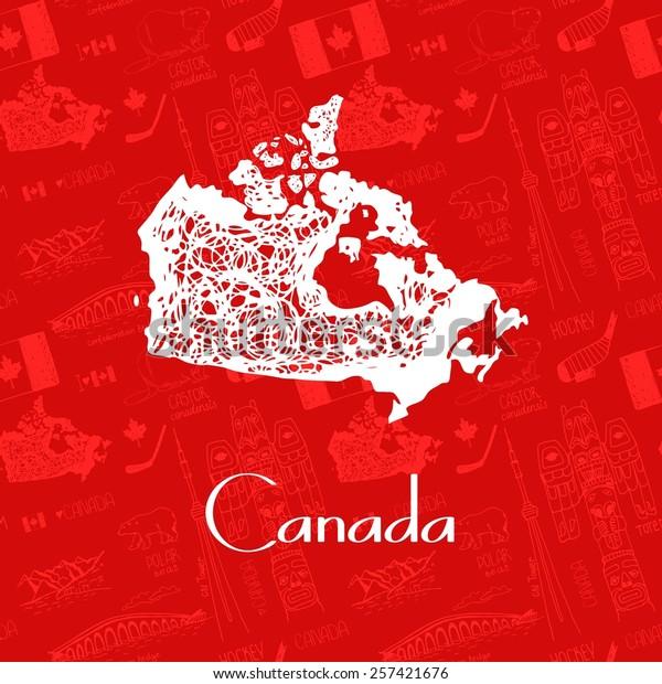 Beautiful Handdrawn Map Canada Vector Illustration Stock