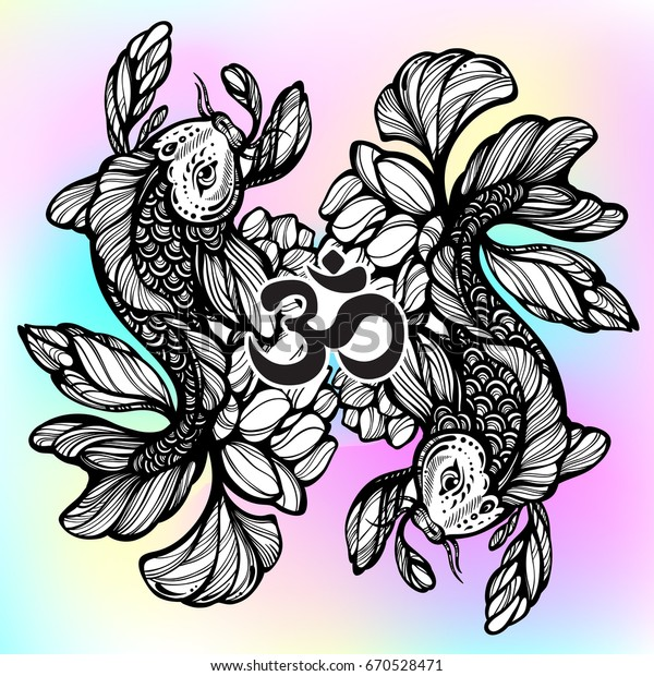 70bfecd8bf1ee Beautiful hand-drawn oriental illustration of Koi carp fish with Lotus  flower around. High